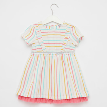 Striped Dress with Round Neck and Short Sleeves