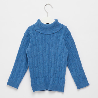 Textured Sweater with Roll Neck and Long Sleeves