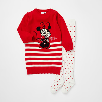 Minnie Mouse Textured Sweater Dress with Stockings