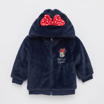 Plush Hooded Jacket with Long Sleeves and Zip Closure