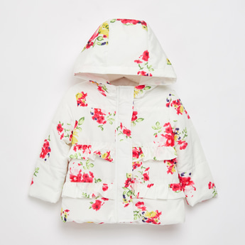 Floral Print Padded Jacket with Long Sleeves and Frill Detail