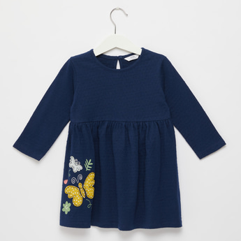Applique Detail Dress with Round Neck and Long Sleeves