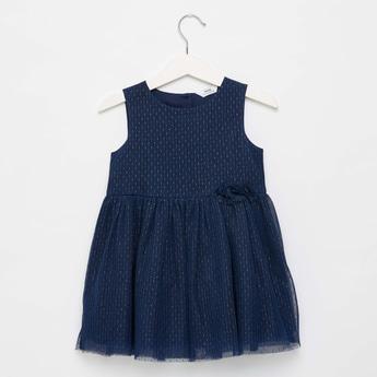 Mesh Textured Sleeveless Dress with Round Neck