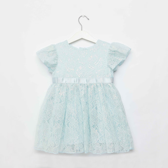 Lace Detail Dress with Round Neck and Zip Closure