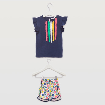 Frill Detail Round Neck T-shirt with Printed Shorts
