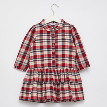Checked Long Sleeve Dress with Collar and Button Front Closure