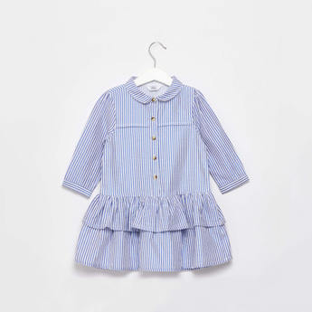 Striped Tiered Dress with Long Sleeves and Button Detail