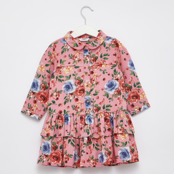 Floral Print Collared Dress with Long Sleeves and Ruffle Detail