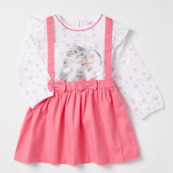 Heart and Cat Print T-shirt and Solid Suspender Skirt Set
