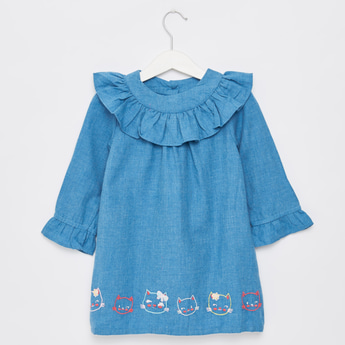 Embroidered Detail Mini Dress with Frill Neck and Long Sleeves