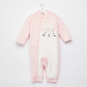 Textured Bunny Pram Suit with Hooded Neck and Zip Closure