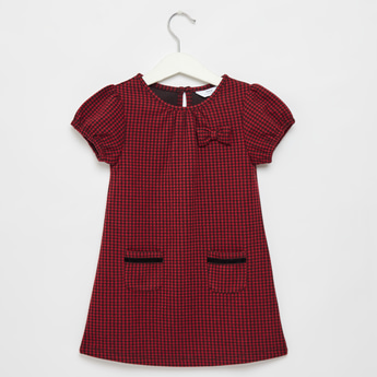 Checked Round Neck Dress with Short Sleeves and Bow Accent
