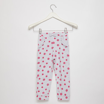 Printed Jog Pants with Pockets and Bow Applique