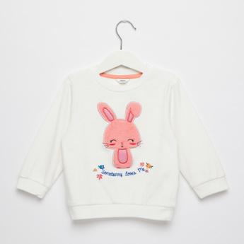 Bunny Embroidered Sweat Top with Round Neck and Long Sleeves