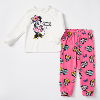 Minnie Mouse Textured Long Sleeves T-shirt and Pyjama Set