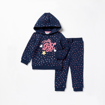 All-Over Polka Dot Print Hoodie and Full Length Jog Pants Set