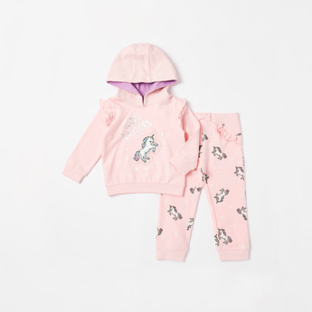 Unicorn Graphic Print Hoodie and Frill Detail Jog Pants Set