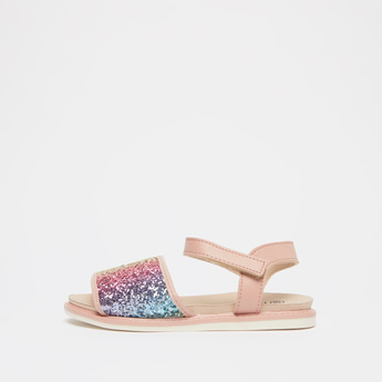 Glitter Accent Sandals with Hook and Loop Closure