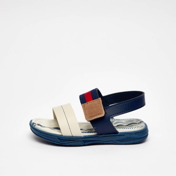 Colour Block Sandals with Hook and Loop Closure
