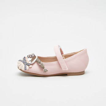 Mary Jane Shoes with Applique Detail and Hook and Loop Closure