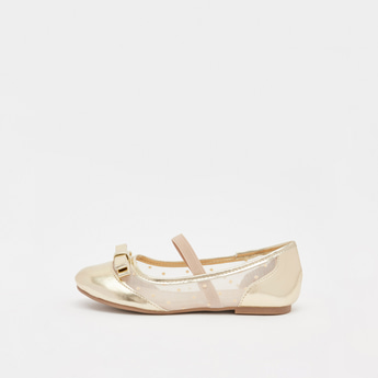 حذاء باليرينا بارز الملمس سهل الارتداء بفيونكة