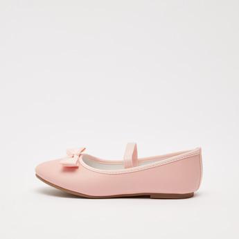 حذاء باليرينا سادة بزخرفة فيونكة وحزام مطّاطي