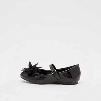 حذاء باليرينا سادة بمقدمة مستديرة مزين بالزهور