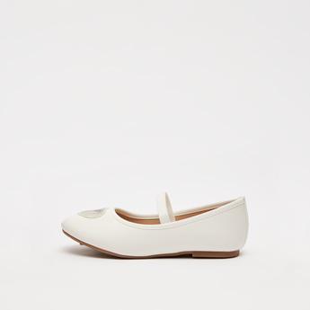 حذاء باليرينا مزين بالترتر على شكل قلب مع حزام مطاطي