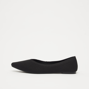 Textured Almond Toe Ballerina Shoes