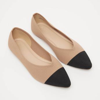 Textured Slip-On Ballerina Shoes
