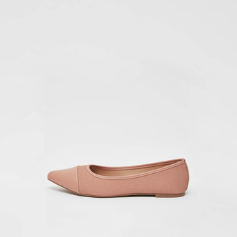 Pointed Toe Textured Ballerina with Stacked Heels