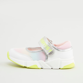 Colourblock Mary Jane Shoes with Hook and Loop Closure