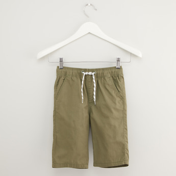 Solid Shorts with Pocket Detail and Drawstring