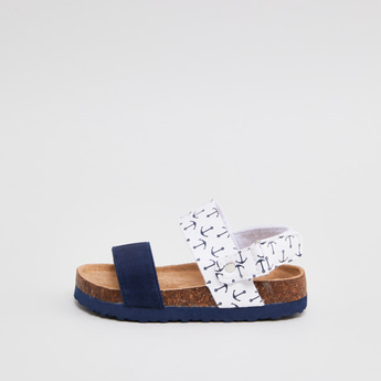 Anchor Printed Sandals with Snap Button Closure