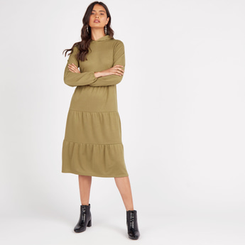 Solid Tiered Midi Dress with Hood and Long Sleeves