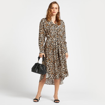 All-Over Animal Print Midi Asymmetric Dress with Long Sleeves and Tie-Up