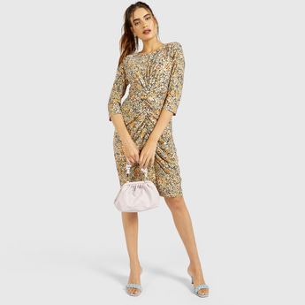 All-Over Floral Print Shift Ruched Dress with 3/4 Sleeves