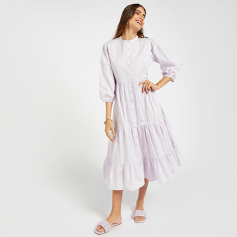 Solid Midi Tiered Poplin Dress with 3/4 Sleeves