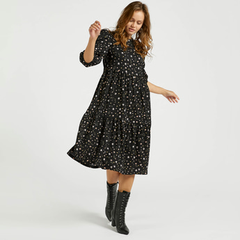 All-Over Floral Print Tiered Dress with Round Neck and Bishop Sleeves