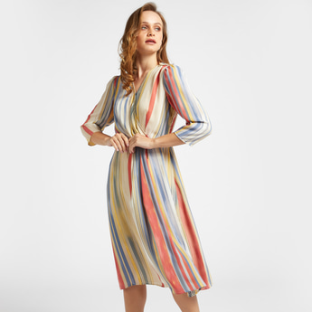 Striped A-line Wrap Dress with V-neck and 3/4 Sleeves