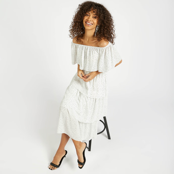 All-Over Print Tiered Off-Shoulder Midi Dress