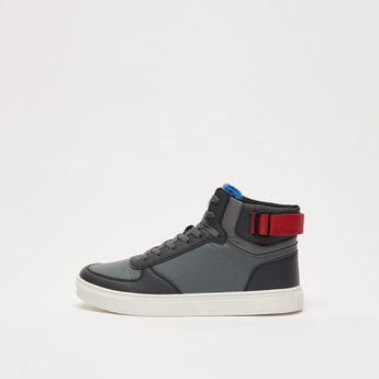 Solid High-Top Sneaker Shoes with Hook and Loop Closure