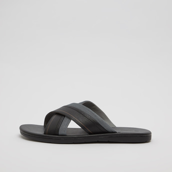 Textured Cross Strap Slip-On Sandals
