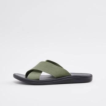 Slip-On Sandals with Textured Straps
