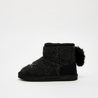 Textured Ugg Boots with Zip Closure
