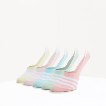 Set of 5 - Striped No Show Socks