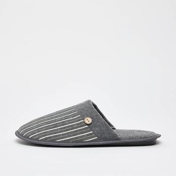 Striped Slip-On Bedroom Slippers