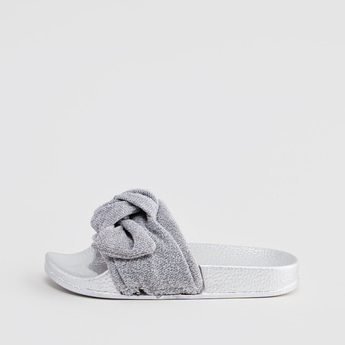 Textured Slides with Bow Applique Detail