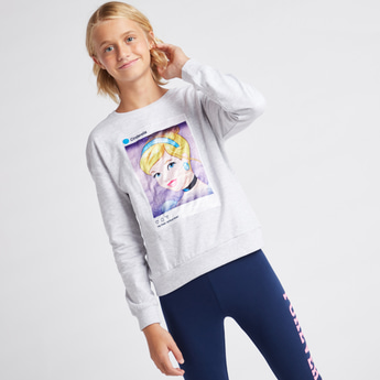 Cinderella Print Round Neck Sweatshirt with Long Sleeves