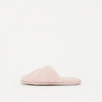 Textured Plush Slip-On Bedroom Slippers